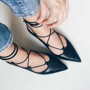 Black Ankle Lace Up Gladiator Pointy Toe Flats